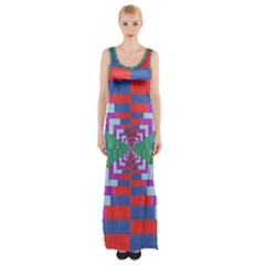 Texture Fabric Textile Jute Maze Maxi Thigh Split Dress
