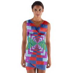 Texture Fabric Textile Jute Maze Wrap Front Bodycon Dress