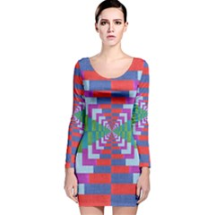 Texture Fabric Textile Jute Maze Long Sleeve Velvet Bodycon Dress