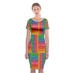 Texture Surface Rainbow Festive Classic Short Sleeve Midi Dress