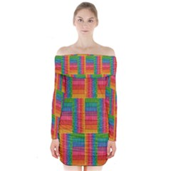Texture Surface Rainbow Festive Long Sleeve Off Shoulder Dress