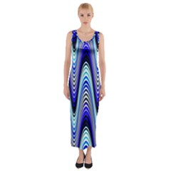 Waves Wavy Blue Pale Cobalt Navy Fitted Maxi Dress