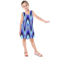 Waves Wavy Blue Pale Cobalt Navy Kids  Sleeveless Dress