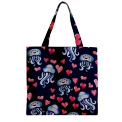 Jellyfish Love Zipper Grocery Tote Bag