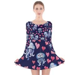 Jellyfish Love Long Sleeve Velvet Skater Dress