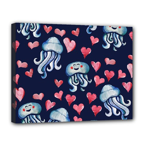 Jellyfish Love Canvas 14  X 11