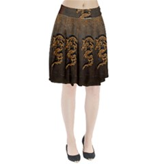 Awesome Dragon, Tribal Design Pleated Skirt