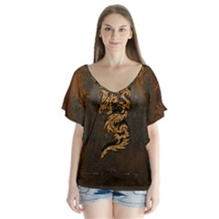 Awesome Dragon, Tribal Design Flutter Sleeve Top