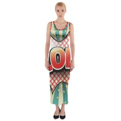 Lol Comic Speech Bubble Vector Illustration Fitted Maxi Dress