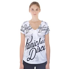 Panic At The Disco Flowers Short Sleeve Front Detail Top