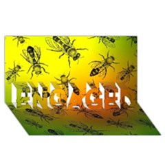 Insect Pattern ENGAGED 3D Greeting Card (8x4)