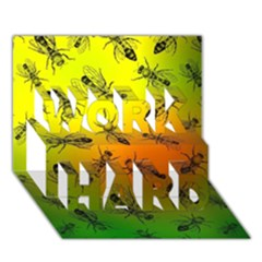 Insect Pattern WORK HARD 3D Greeting Card (7x5)