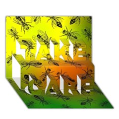Insect Pattern TAKE CARE 3D Greeting Card (7x5)