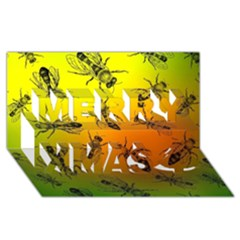 Insect Pattern Merry Xmas 3D Greeting Card (8x4)