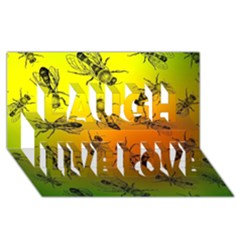 Insect Pattern Laugh Live Love 3D Greeting Card (8x4)