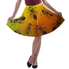 Insect Pattern A Line Skater Skirt