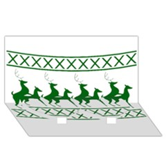 Humping Reindeer Ugly Christmas Twin Heart Bottom 3D Greeting Card (8x4)