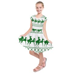 Humping Reindeer Ugly Christmas Kids  Short Sleeve Dress