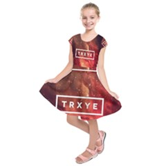 Trxye Galaxy Nebula Kids  Short Sleeve Dress