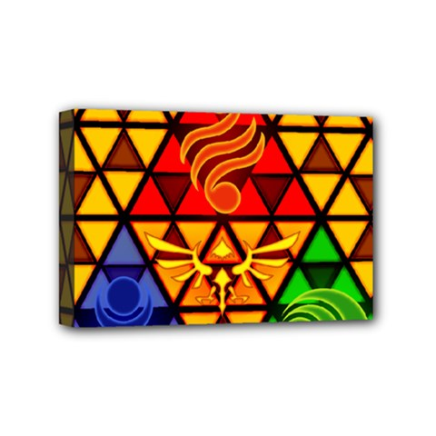 The Triforce Stained Glass Mini Canvas 6  X 4