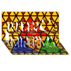 The Triforce Stained Glass Happy Birthday 3D Greeting Card (8x4)