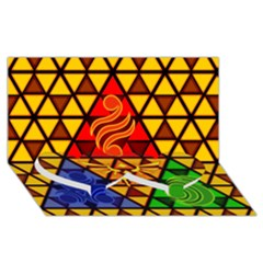 The Triforce Stained Glass Twin Heart Bottom 3d Greeting Card (8x4)