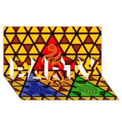 The Triforce Stained Glass Party 3d Greeting Card (8x4)