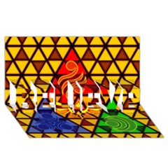 The Triforce Stained Glass Believe 3d Greeting Card (8x4)