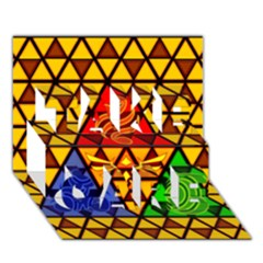 The Triforce Stained Glass Take Care 3d Greeting Card (7x5)