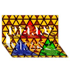 The Triforce Stained Glass Merry Xmas 3d Greeting Card (8x4)