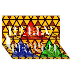 The Triforce Stained Glass Happy New Year 3D Greeting Card (8x4)