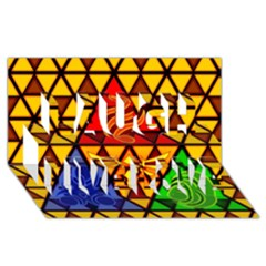 The Triforce Stained Glass Laugh Live Love 3d Greeting Card (8x4)