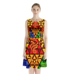 The Triforce Stained Glass Sleeveless Chiffon Waist Tie Dress