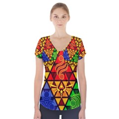 The Triforce Stained Glass Short Sleeve Front Detail Top