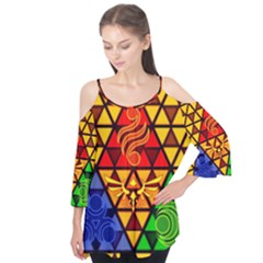 The Triforce Stained Glass Flutter Tees