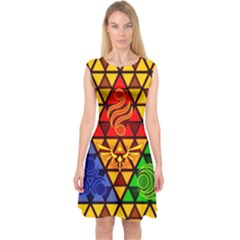 The Triforce Stained Glass Capsleeve Midi Dress