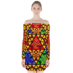 The Triforce Stained Glass Long Sleeve Off Shoulder Dress