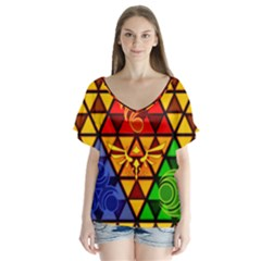 The Triforce Stained Glass Flutter Sleeve Top