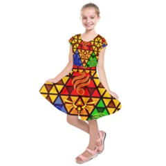 The Triforce Stained Glass Kids  Short Sleeve Dress