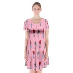 Hotline Bling Pattern Short Sleeve V-neck Flare Dress