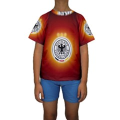 Deutschland Logos Football Not Soccer Germany National Team Nationalmannschaft Kids  Short Sleeve Swimwear