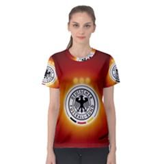 Deutschland Logos Football Not Soccer Germany National Team Nationalmannschaft Women s Sport Mesh Tee