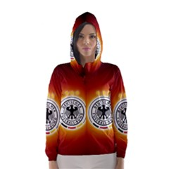Deutschland Logos Football Not Soccer Germany National Team Nationalmannschaft Hooded Wind Breaker (women)