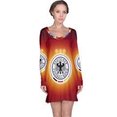 Deutschland Logos Football Not Soccer Germany National Team Nationalmannschaft Long Sleeve Nightdress