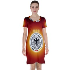 Deutschland Logos Football Not Soccer Germany National Team Nationalmannschaft Short Sleeve Nightdress