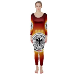 Deutschland Logos Football Not Soccer Germany National Team Nationalmannschaft Long Sleeve Catsuit