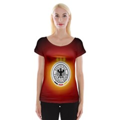 Deutschland Logos Football Not Soccer Germany National Team Nationalmannschaft Women s Cap Sleeve Top