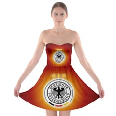 Deutschland Logos Football Not Soccer Germany National Team Nationalmannschaft Strapless Bra Top Dress