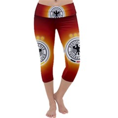 Deutschland Logos Football Not Soccer Germany National Team Nationalmannschaft Capri Yoga Leggings