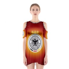 Deutschland Logos Football Not Soccer Germany National Team Nationalmannschaft Cutout Shoulder Dress